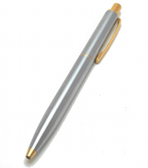 Mitrax Brand Stainless steel click pen with Gold trim